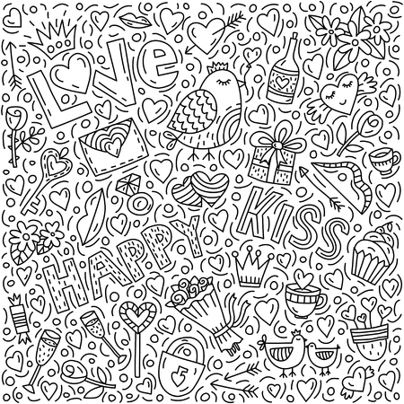 Conceptual illustration on the love theme in doodle style