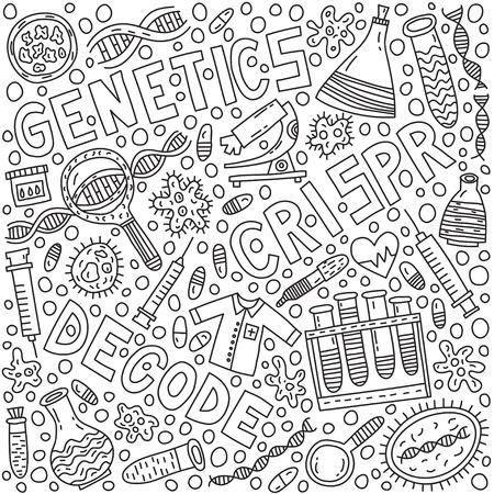 Illustration de doodle génétique avec lettrage Vecteurs