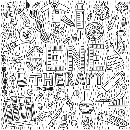 Gene therapy lettering with doodle illustration