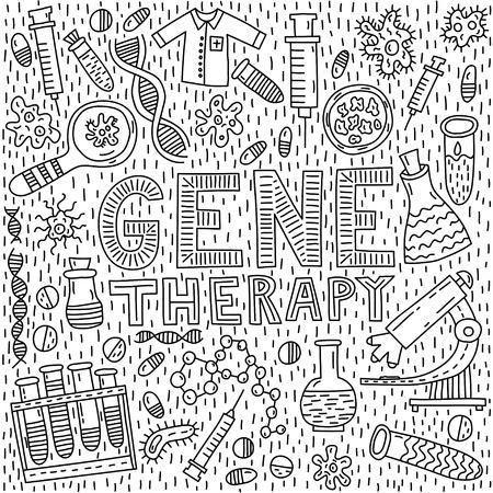 Lettrage de thérapie génique avec illustration de doodle