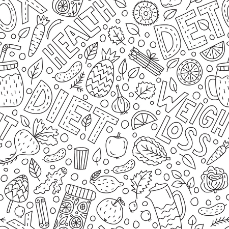 Detox doodle and lettering Vector seamless pattern