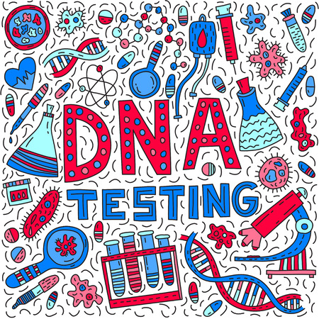 DNA testing. Lettering with doodle illustration Vectores