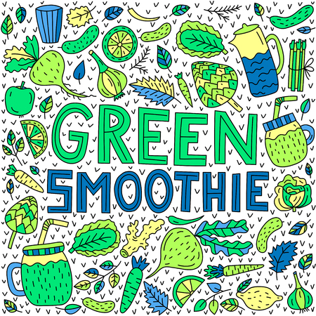 Green smoothie. Vector lettering with doodle illustrations