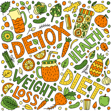 Detox doodle illustration with lettering