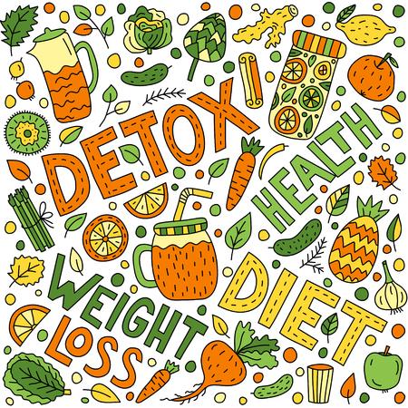Detox doodle illustration with lettering