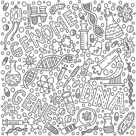 Genom doodle illustration with lettering