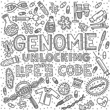 Genome unlocking life's code. Lettering with doodle illustration Vector Illustration