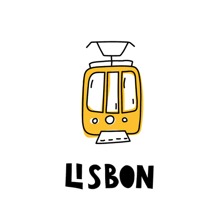 Yellow lisbon tram. Modern style illustration with lettering