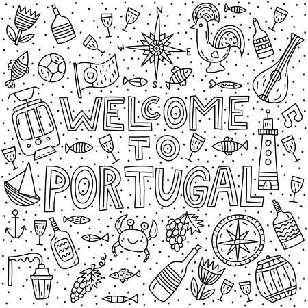 Welcome to Portugal. Lettering with doodles