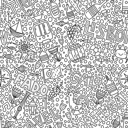 Portugal. Seamless pattern with doodle illustration with lettering