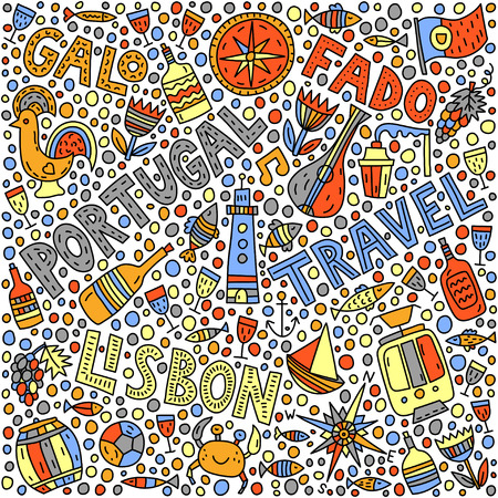 Portugal. Doodle illustration with lettering Illustration