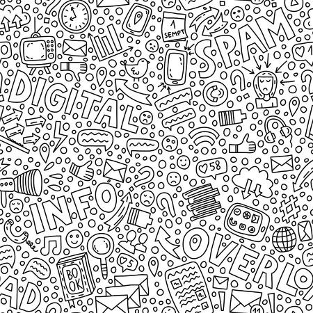 Informationsüberlastung. Nahtloses Muster mit Schriftzügen und Doodle-Illustrationen Vektorgrafik
