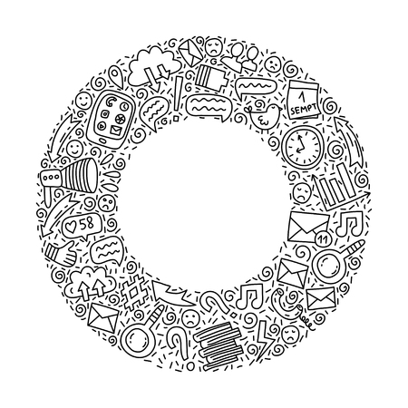 Circle frame with Informational overload doodle illustration