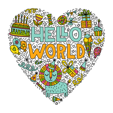 Bonjour le monde! Illustration mignonne de griffonnage avec le lettrage