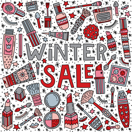 Winter make up sale vector doodle  illustration