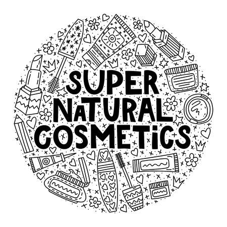 Super natural cosmetics. Lettering with doodle illustrations in circle shape