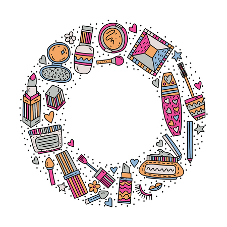 Circle frame with make up doodle vector illustration