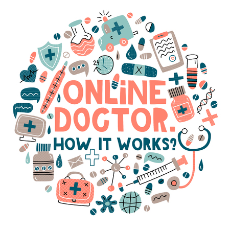 Online doctor. How it works? Lettering with modern flat illustrations in circle shape 向量圖像