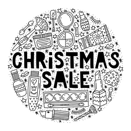 Christmas sale. Special offer promotional poster vector illustration 일러스트