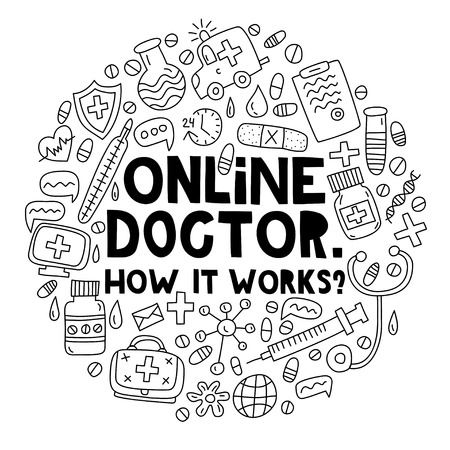 Online doctor. How it works? Lettering with doodles in circle shape 向量圖像