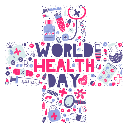 World Health Day. Lettering with modern flat illustrations in a cross medicine shape Illustration