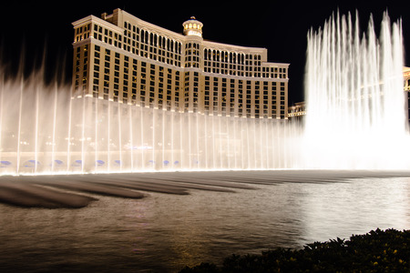 Las Vegas, NV  - Bellagio Hotel at night with its fountains 20180903