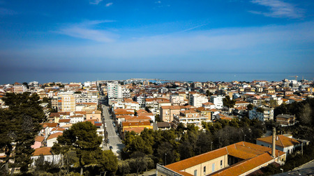 Aerial view of the Italian town of Giulianova in Abruzzo. Aerial view of an Italian town overlooking the sea.
