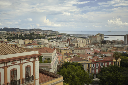Magnificent view from the top of a district of Cagliari with its typical and colorful buildings Stok Fotoğraf