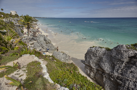 View of the beach of Tulum ruins in Mexico. The beach is taken from above.