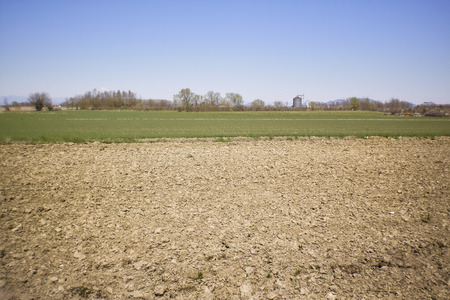 Landscape of a rural area where you can see the fields to be cultivated immediately after being plowed