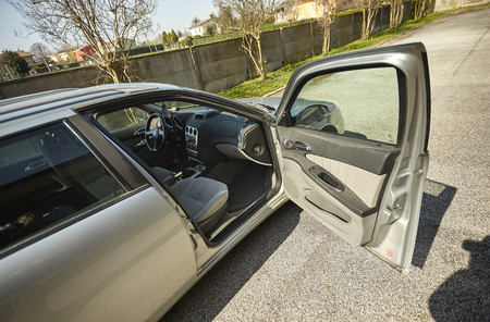 Car with the door open: first-person view of the car entrance Banco de Imagens - 122324614