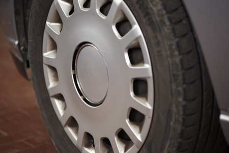 Detail of the wheel of a road car Stock Photo