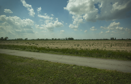 Typical countryside panorama of northern Italy in the Po Valley Stock Photo