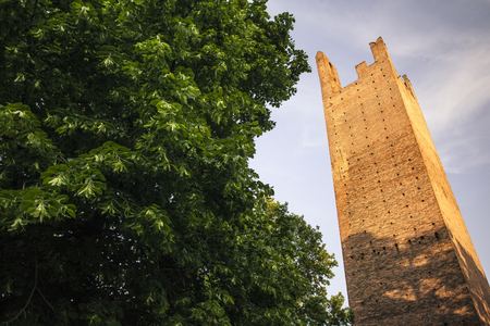 The towers of the city of Rovigo shot during the sunset