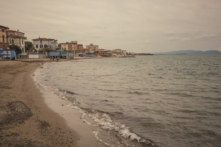 View of San Vincenzo beach in Tuscany, Italy Banco de Imagens