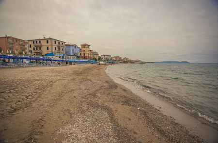 View of San Vincenzo beach in Tuscany, Italy #3 Banco de Imagens
