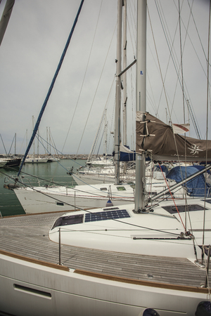 Luxury boats moored in the Port of San Vincenzo in Italy