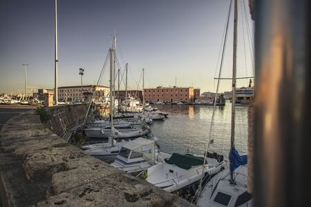 Panoramic view of the port of Livorno with moored boats