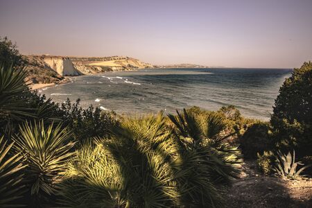 Magnificent seascape of southern Sicilian coast during sunset