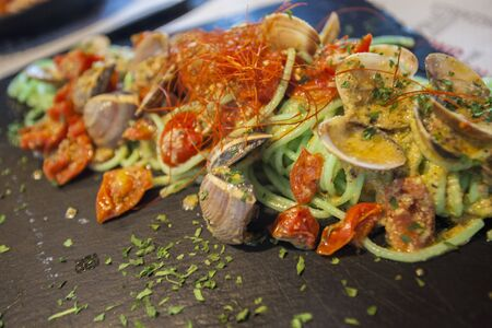 A dish of Spaghetti with Clams, a delicious dish typical of Italian cuisine