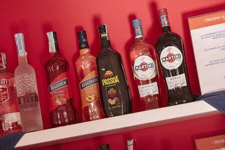 Liquor bottles in the bar counter