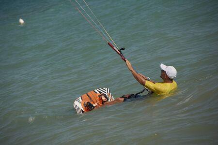 Kitesurfing in mediterranenan sea in Sicily