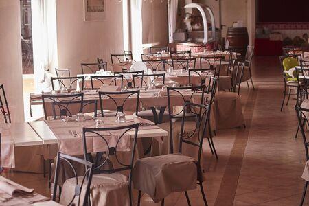 Restaurant tables in a resort in Sicily 写真素材