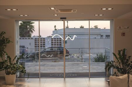 Showcase overlooking the street at sunset