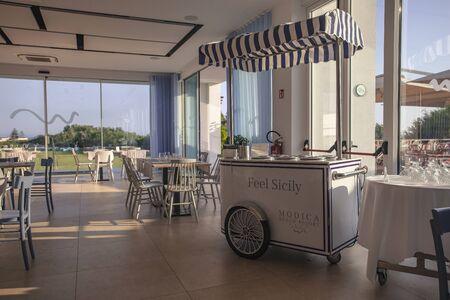 Vintage ice cream cart in a luxury sicilian restaurant