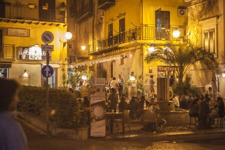 Monreale a small city near Palermo in Sicily, by night Stock Photo