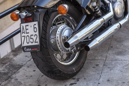 Detail of a black chopper motorcycle...