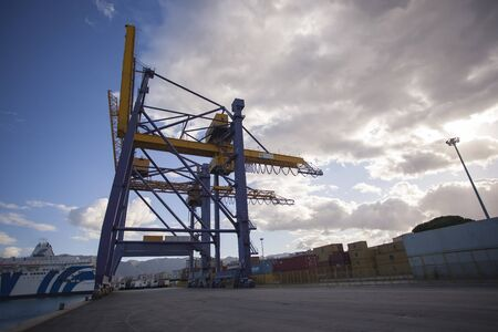Cranes at the port of Palermo for handling cargo loads