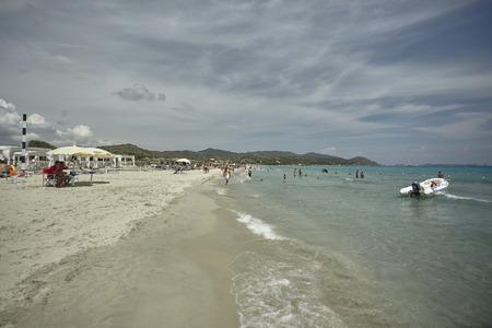 Villasimius Beach in Sardinia in Italy 에디토리얼