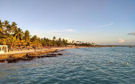 View of the seashore of Dominicus beach (Bayahibe) in the Dominican Republic at sunset